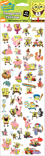 "Retail Products > Retail Temporary Tattoos > 4"" x 12"" Sheets of Temporary Tattoos > FT01207 SpongeBob  4"" x 12"" Sheet of Temporary Tattoos"