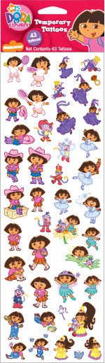 "Retail Products > Retail Temporary Tattoos > 4"" x 12"" Sheets of Temporary Tattoos > Dora FT03207  4"" x 12"" Sheet of Temporary Tattoos"