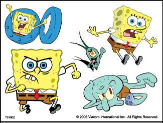 Retail Tattoos > Novelty Tattoos > F01002 SpongeBob SquarePants Novelty Tattoo Sheet