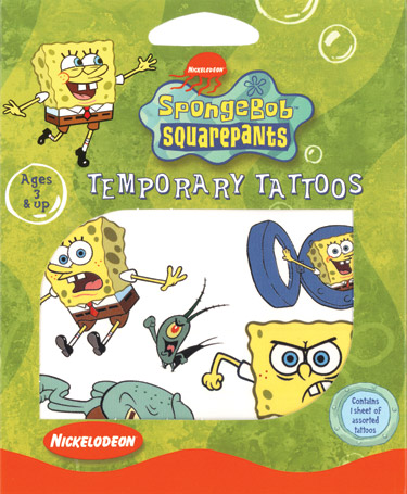 Retail Tattoos > Novelty Tattoos > F01002 SpongeBob SquarePants Novelty Tattoos