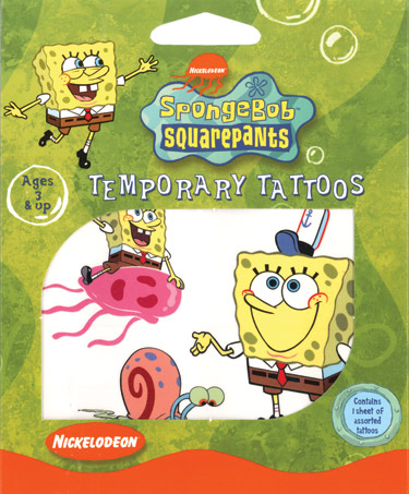 Retail Tattoos > Novelty Tattoos > F01003 SpongeBob SquarePants Novelty Tattoos