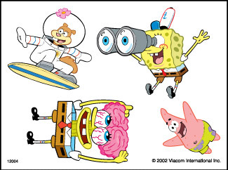 Retail Tattoos > Novelty Tattoos > F01004 SpongeBob SquarePants Novelty Tattoo Sheet