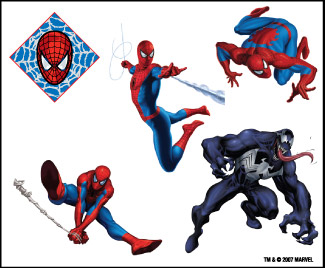 Retail Tattoos > Novelty Tattoos > F48002 Spider-Man Novelty Tattoo Sheet