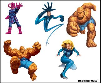 Retail Tattoos > Novelty Tattoos > F48101 Fantastic Four Novelty Tattoo Sheet