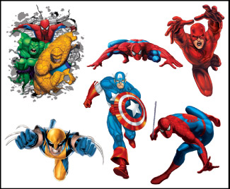 Retail Tattoos > Novelty Tattoos > F48201 Marvel Heroes Novelty Tattoo Sheet