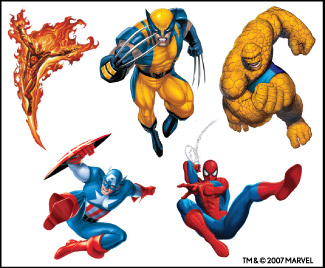 Retail Tattoos > Novelty Tattoos > F48202 Marvel Heroes Novelty Tattoo Sheet