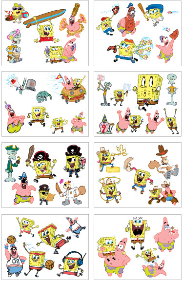 Party Pack Tattoos > F01108 SpongeBob SquarePants 8 Tattoo Sheets