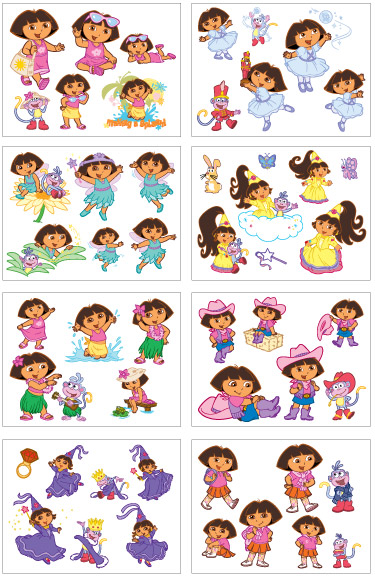 Tattoos > Party Pack Tattoos > F03108 Dora the Explorer 8 Tattoo Sheets